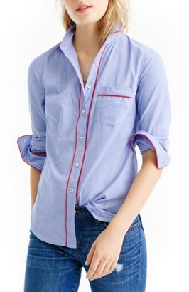 Women's J.crew Tipped Pajama Shirt $78 thestylecure.com