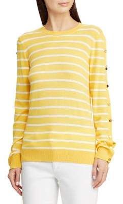 Lauren Ralph Lauren Striped Buttoned-Sleeve Sweater