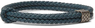 Bottega Veneta Intrecciato Woven Leather Wrap Bracelet - Blue