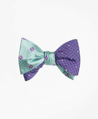 Brooks Brothers Flower Mini-Dot with Windowpane-Dot Reversible Bow Tie