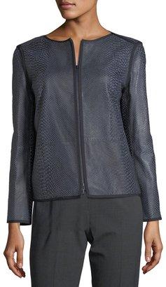 Lafayette 148 New York Keaton Embossed Leather Grosgrain-Trim Jacket $899 thestylecure.com