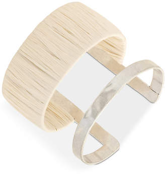 Lucky Brand Silver-Tone Raffia-Wrapped Cuff Bracelet