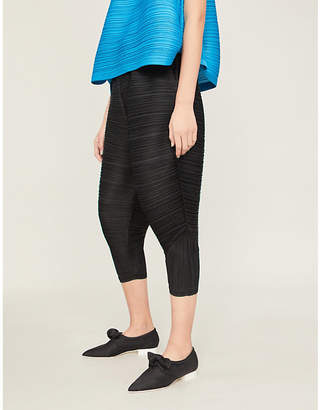Pleats Please Issey Miyake Cropped high-rise pleated trousers