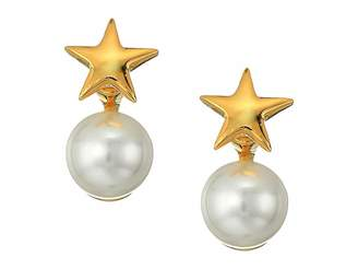 Kenneth Jay Lane Polished Gold Star Top and White Pearl Bottom Post Earrings