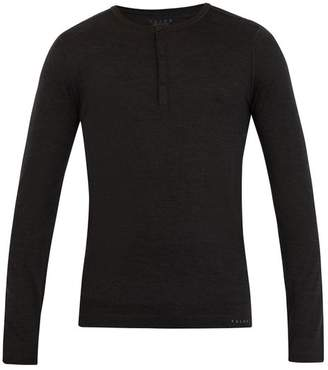 Falke Ess - Long Sleeved Wool And Silk Blend T Shirt - Mens - Dark Grey