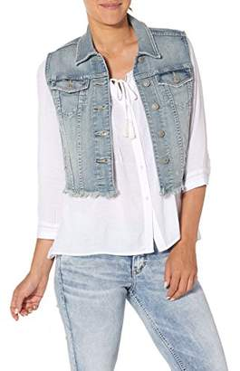 Silver Jeans Women's Cropped Denim Vest With Fray Hem