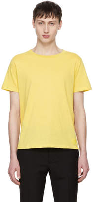 Saint Laurent Yellow Fitted SL T-Shirt