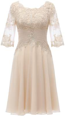 Lover Kiss Mother of The Bride Dress Knee Length Half Sleeves Lace Party Dresses