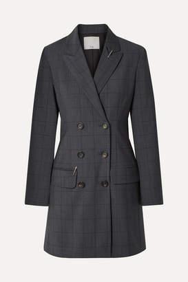 Tibi Double-breasted Checked Wool-blend Mini Dress - Dark gray
