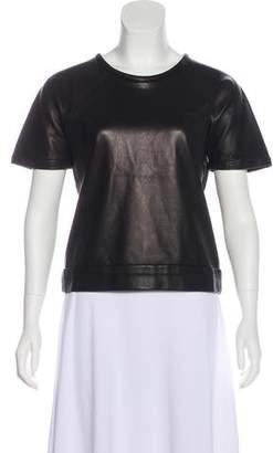 Rag & Bone Short Sleeve Leather Top