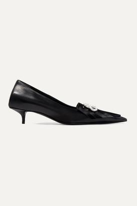 Balenciaga Knife Logo-embellished Patent-leather Pumps - Black