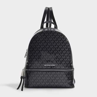 MICHAEL Michael Kors Rhea Zip Medium Backpack In Black And Silver Pvc