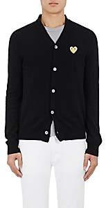 Comme des Garcons Men's Heart-Patch Wool Cardigan - Black