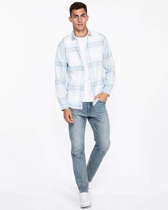 Express Slim Plaid Two Pocket Shirt