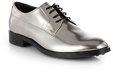 Tod's Metallic Leather Lace-Up Oxfords