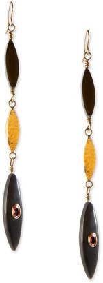 Ashley Pittman Tarabu Linear Dark Horn & Bronze Drop Earrings