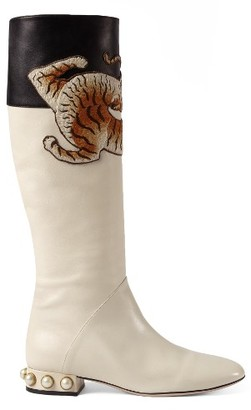 Women's Gucci Imitation Pearl Tiger Applique Riding Boot $1,950 thestylecure.com