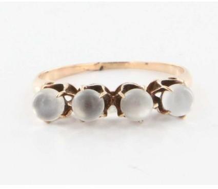 575 Denim very good (VG) Antique Victorian 10k Rose Gold Rainbow Blue Moonstone Ring sz