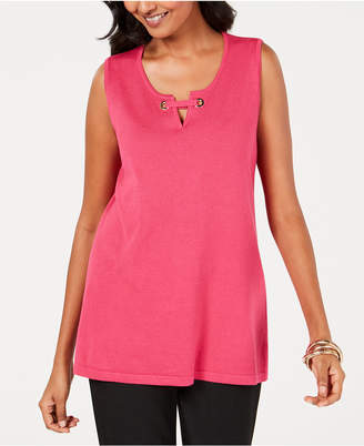 JM Collection Petite Split-Neck Tank Top