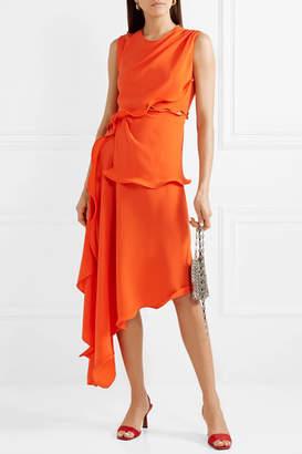 Sies Marjan Helena Asymmetric Ruffled Stretch-crepe Dress - Bright orange