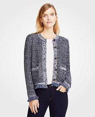 Ann Taylor Sequin Fringe Tweed Jacket