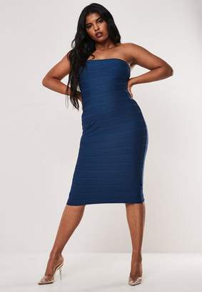 Missguided Plus Size Navy Strapless Bandage Bodycon Midi Dress