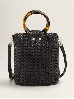 MANGO Round Handle Woven Bag - Black
