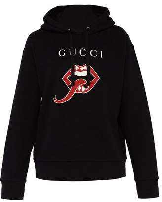 Gucci Mouth Print Cotton Hooded Sweatshirt - Mens - Black Multi