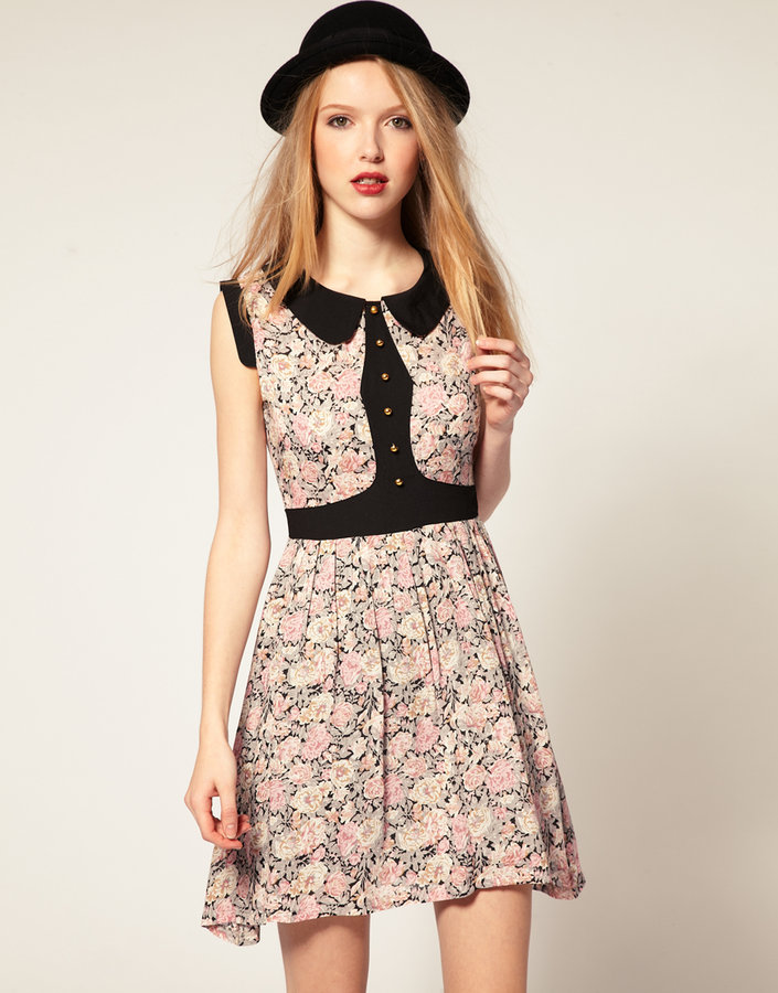 Dahlia Floral Dress With Contrast Panels