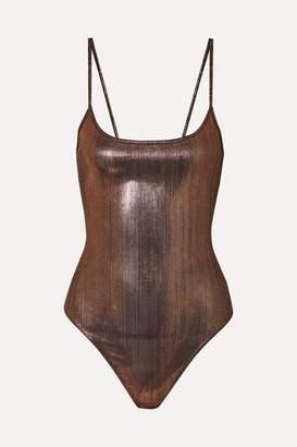 Alix Keen Stretch-lame Thong Bodysuit - Bronze
