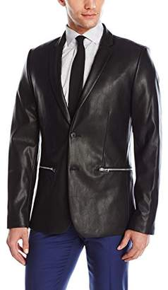 Calvin Klein Men's Two Button Notch Lapel Faux Leather Sportcoat