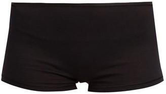 Hanro Seamless Cotton Boy Short Briefs - Womens - Black