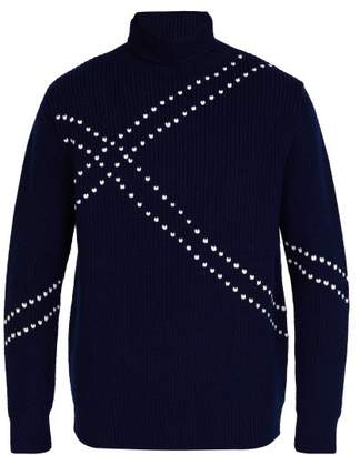 Raf Simons Stitched Roll Neck Wool Sweater - Mens - Navy