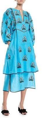 Vita Kin Sunflower-Embroidered Puff-Sleeve 2-Tier Linen Maxi Dress