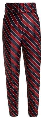 Sara Battaglia Striped High Waisted Satin Trousers - Womens - Navy Multi