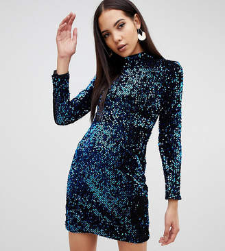 b4ae7967 Missguided Tall high neck sequin mini dress