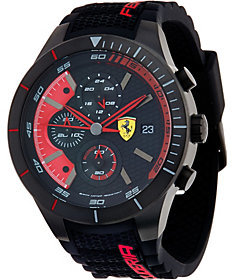 FerrariFerrari Men's Black Silicone Strap RedRec Evo Chrono Watch