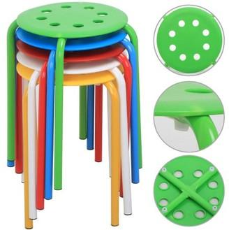 Yaheetech Set of 5 Round Plastic Stacking Stools Blue/Green/Red/White/Yellow Nesting Bar Stools Set