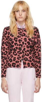 Marc Jacobs Pink and Black Wool Printed Cardigan