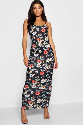 boohoo Strappy Floral Butterfly Maxi Dress
