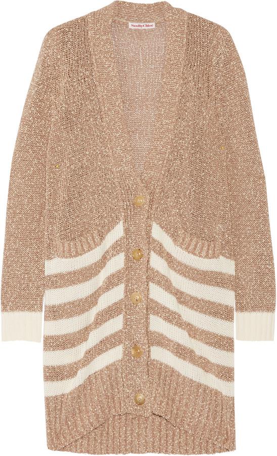 See by Chloé Open-knit cotton-bouclé cardigan