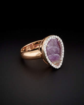 Italian Gold 14K Italian Rose Gold 3.75 Ct. Tw. Diamond & Purple Amethyst Ring