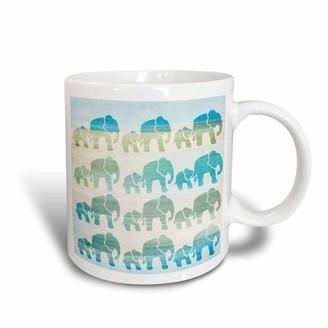 3dRose Aqua Mom and Baby Elephants animals, Ceramic Mug, 15-ounce