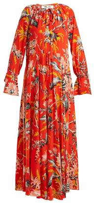 Diane von Furstenberg Bethany Floral Print Silk Dress - Womens - Orange Print