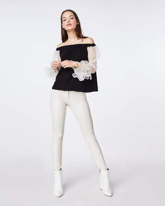 Nicole Miller Organza And Charmeuse Blend Off The Shoulder Top