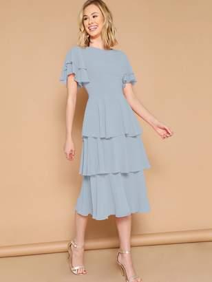 Shein Flutter Sleeve Layered Hem Dress