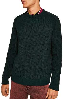 Topman Honeycomb Classic Fit Crewneck Sweater