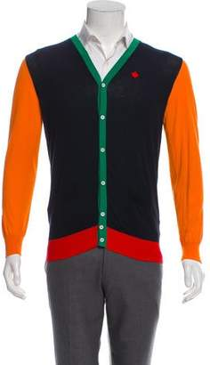 DSQUARED2 Maple Leaf Embroidered Colorblock Cardigan