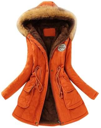 OVERMAL Coats Womens Warm Long Coat Fur Collar Hooded Jacket Slim Winter Parka Outwear Coats