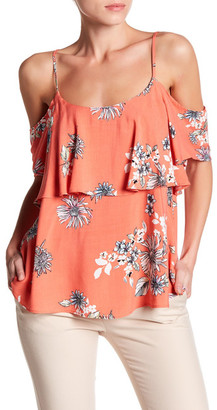 Bobeau Ruffled Floral Cold Shoulder Blouse $48 thestylecure.com
